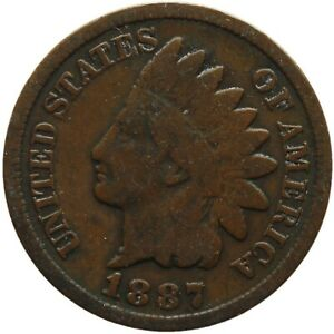 1887 ONE CENT UNITED STATES INDIAN HEAD COIN  MO1968