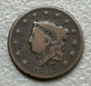 1838 CORONET HEAD LARGE ONE CENT 1C COIN