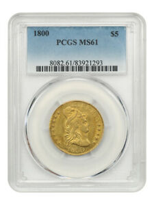 1800 $5 PCGS MS61    EARLY HALF EAGLE   EARLY HALF EAGLE   GOLD COIN