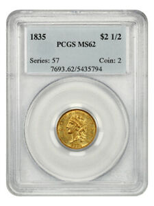 1835 $2 1/2 PCGS MS62   BEAUTIFUL TYPE COIN   2.50 EARLY GOLD COIN