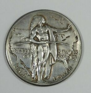 1926 OREGON TRAIL MEMORIAL COMMEMORATIVE SILVER HALF DOLLAR AU   COIN IS CLEANED