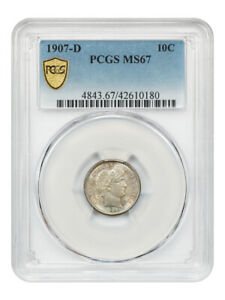 Click now to see the BUY IT NOW Price! 1907 D 10C PCGS MS67   BARBER DIME   BEAUTIFUL KEY DATE