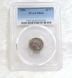1886 NICKEL THREE CENT PIECE PCGS PROOF 66 3C   ONLY PROOF COINS IN 1886