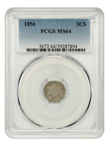 1856 3CS PCGS MS64   3 CENT SILVER   GREAT TYPE COIN