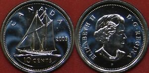 BRILLIANT UNCIRCULATED 2003P CANADA UNCROWNED 10 CENTS FROM MINT'S ROLL