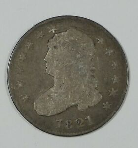 1821 CAPPED BUST QUARTER GOOD SILVER 25C