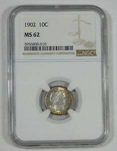 1902 BARBER DIME CERTIFIED NGC MS 62  SILVER 10C