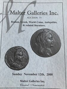 ROMAN GREEK WORLD COINS ARTIFACTS AND RELATED LITERATURE. AUCTION 77.