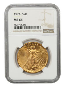 1924 $20 NGC MS66   GEM TYPE COIN   SAINT GAUDENS DOUBLE EAGLE   GOLD COIN
