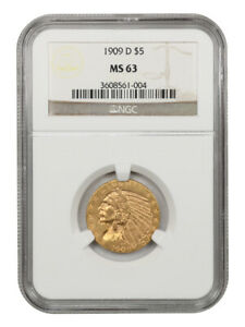 1909 D $5 NGC MS63   GREAT TYPE COIN   INDIAN HALF EAGLE   GOLD COIN