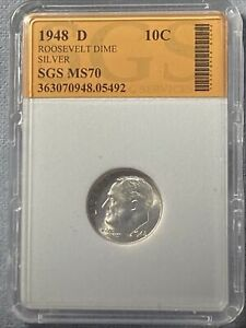 1948 D 90  SILVER FULL TORCH ROOSEVELT DIME SGS   NICE EXCELLENT