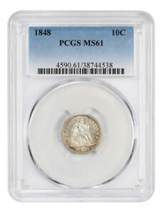 1848 10C PCGS MS61   FROSTY AND LUSTROUS   LIBERTY SEATED DIME
