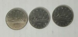1980 82  CANADIAN 1$ ONE DOLLAR NICKEL COIN CANADA 3 COIN LOT
