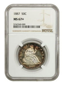 Click now to see the BUY IT NOW Price! 1887 50C NGC MS67    LIBERTY SEATED HALF DOLLAR   FINEST KNOWN