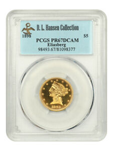 Click now to see the BUY IT NOW Price! 1898 $5 PCGS PR 67 DCAM EX: D.L. HANSEN   LIBERTY HALF EAGLE   GOLD COIN