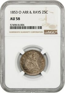 Click now to see the BUY IT NOW Price! 1853 O 25C NGC AU58  ARROWS & RAYS  LIBERTY SEATED QUARTER   TOUGH O MINT
