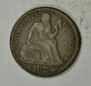 1873 SEATED DIME ARROWS VF
