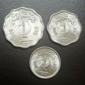 1974 PAKISTAN LOT 3 DIFFERENT 1 2 & 10 PAISE COINS COLLECTIBLE ALUMINUM  FOREIGN