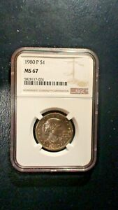 1980 P SUSAN B ANTHONY NGC MS67 GEM UNCIRCULATED $1 COIN BUY IT NOW