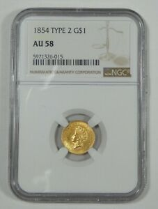 1854 TY 2 GOLD INDIAN PRINCESS HEAD SMALL HEAD $1 CERTIFIED NGC AU 58