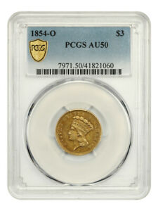 1854 O $3 PCGS AU50   LOW MINTAGE GOLD FROM NEW ORLEANS   3 PRINCESS GOLD COIN
