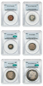 Click now to see the BUY IT NOW Price! 1894 PR SET 1C $1 PCGS/CAC PR 64 66   6 COINS TOTAL