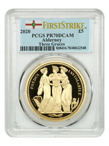 Click now to see the BUY IT NOW Price! 2020 ALDERNEY THREE GRACES GB 5 POUNDS PCGS PR 70 DCAM  FIRST STRIKE BOX & COA