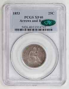 1853 P QUARTER DOLLARS LIBERTY SEATED PCGS XF 40 ROATED REV CAC ARROWS AND RAYS