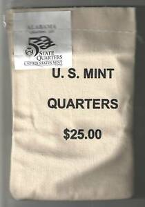 Click now to see the BUY IT NOW Price! 2003 D UNCIRCULATED STATE QUARTER BAG   ALABAMA   $25 MINT SEWN BAG