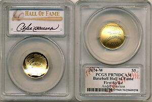 Click now to see the BUY IT NOW Price!  2014 GOLD $5 PCGS PR70 FIRST STRIKE ANDRE DAWSON BASEBALL HALL OF FAME PROOF