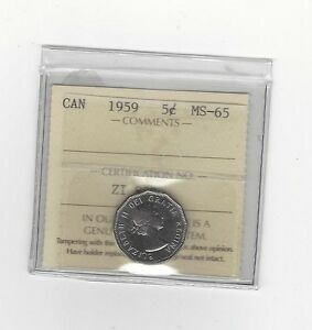 Click now to see the BUY IT NOW Price!   1959   ICCS GRADED CANADIAN  5 CENT   MS 65
