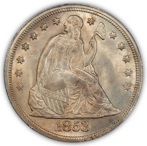 Click now to see the BUY IT NOW Price! 1853 $1 LIBERTY SEATED DOLLAR PCGS MS65