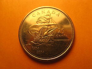 CANADA 2004 COMMEMORATIVE 400 YEARS OF 1ST FRENCH SETTLEMENT 25 CENT COIN.