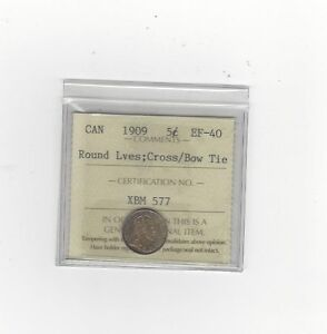 Click now to see the BUY IT NOW Price!   1909 RND LVES CROSS / BOW TIE    ICCS GRADED CANADIAN  5 CENT   EF 40