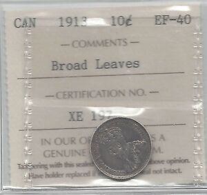 Click now to see the BUY IT NOW Price!   1913 BRAOD LEAVES   ICCS  GRADED CANADIAN  10  CENT   EF 40