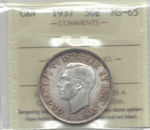 Click now to see the BUY IT NOW Price!   1937   ICCS GRADED CANADIAN FIFTY CENT COIN   MS 65