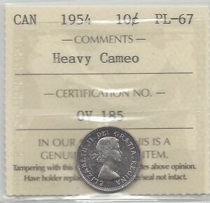 Click now to see the BUY IT NOW Price!   1954   ICCS  GRADED CANADIAN  10  CENT   PL 67 HEAVY CAMEO