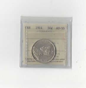 Click now to see the BUY IT NOW Price!   1914   ICCS GRADED CANADIAN 50 CENT   AU 55