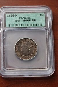 Click now to see the BUY IT NOW Price!   1876H   ICG GRADED CANADIAN LARGE ONE CENT   MS 65