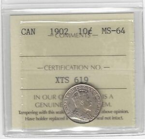 Click now to see the BUY IT NOW Price!   1902   ICCS GRADED CANADIAN SILVER 10 CENT   MS 64