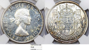 Click now to see the BUY IT NOW Price! CANADA. COMMONWEALTH QUEEN ELIZABETH II. SILVER 50 CENTS 1957. NGC PL65