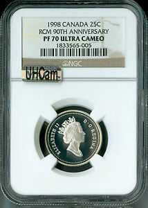 Click now to see the BUY IT NOW Price! 1998 CANADA 90TH SILVER 25 CENTS NGC MAC PR70 UHCAM  FINEST SPOTLESS