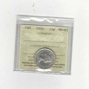 Click now to see the BUY IT NOW Price!   1954   ICCS GRADED CANADIAN 25 CENT   MS 65
