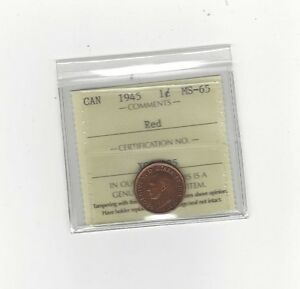 Click now to see the BUY IT NOW Price!   1945  ICCS GRADED CANADIAN SMALL ONE CENT   MS 65
