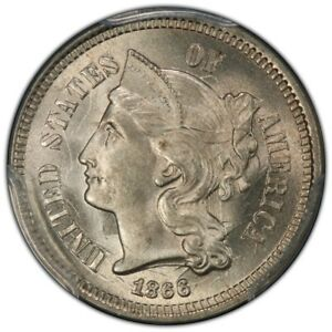 Click now to see the BUY IT NOW Price! 1866 3CN THREE CENT NICKEL PCGS MS66  CAC
