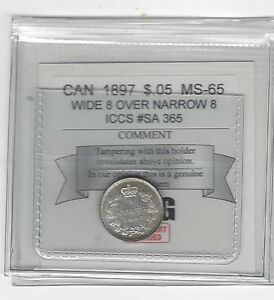 Click now to see the BUY IT NOW Price!   1897 W/N 8   COIN MART GRADED CANADIAN  5 CENT   MS 65   ICCS  SA 365