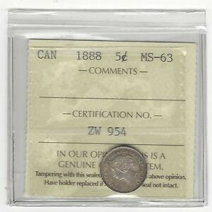 Click now to see the BUY IT NOW Price!   1888   ICCS GRADED CANADIAN  5 CENT   MS 63