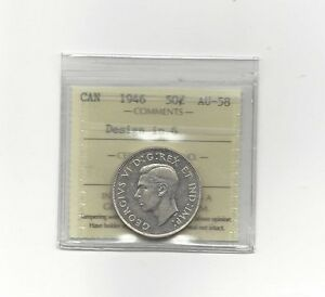 Click now to see the BUY IT NOW Price!   1946 DESIGN IN 6   ICCS GRADED CANADIAN SILVER 50 CENT   AU 58