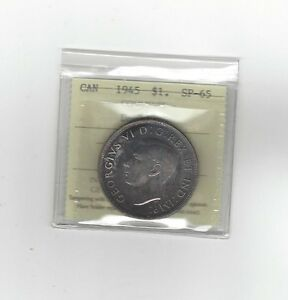 Click now to see the BUY IT NOW Price!   1945 DOUBLE 5   ICCS GRADED CANADIAN SILVER DOLLAR   SP 65