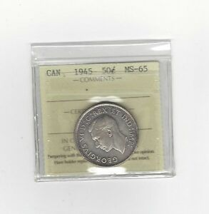 Click now to see the BUY IT NOW Price!   1945   ICCS GRADED CANADIAN SILVER 50 CENT   MS 65